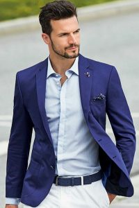 Blue and white summer suit idea
